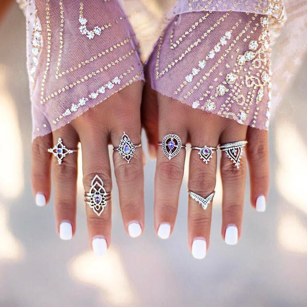 10pcs/Set Women Bohemian Vintage Silver Stack Rings Above Knuckle Blue Rings Set joint Ring Suit Punk Ball Trend All-match #45