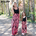 MVUPP mother daughter dress family matching outfits Neon Coral Black Damask Maxi Dress baby girl summer mommy and me clothes