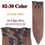 Leeons 26 colors 16clips Long Straight Synthetic Hair Extensions Red /Blue Clips in High Temperature Fiber Black Blond Hairpiece