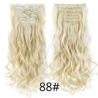 Leeons 16clips 22inch 55cm 140G Long Body Wave Women Clip in Hair Extensions Synthetic Ombre blond Black Brown High Tempreture