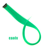 AOSIWIG  Single Clip In One Piece Hair Extensions Long Straight Heat Resistant Synthetic Pink Green Hair Pieces