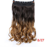 "Allaosify 24"" Curly 3/4 Full Head Clip in Hair Extensions Black Brown Blonde Real Natural Synthetic One Piece for human"