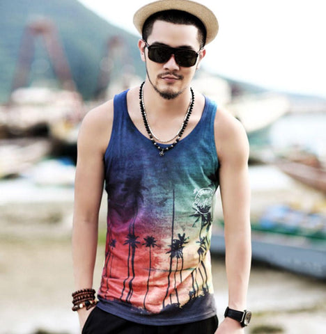 beach wear tank top t shirt for men