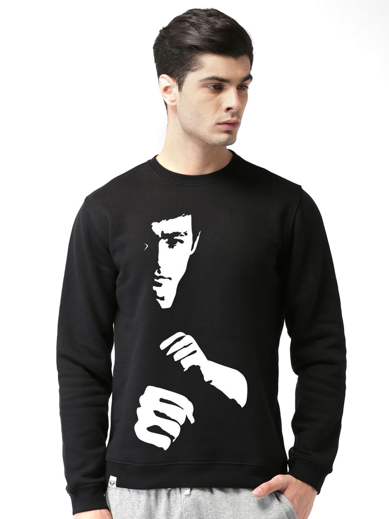 Glow In Dark Bruce Lee Graphics Printed Round Neck Sweatshirt - bluehaat