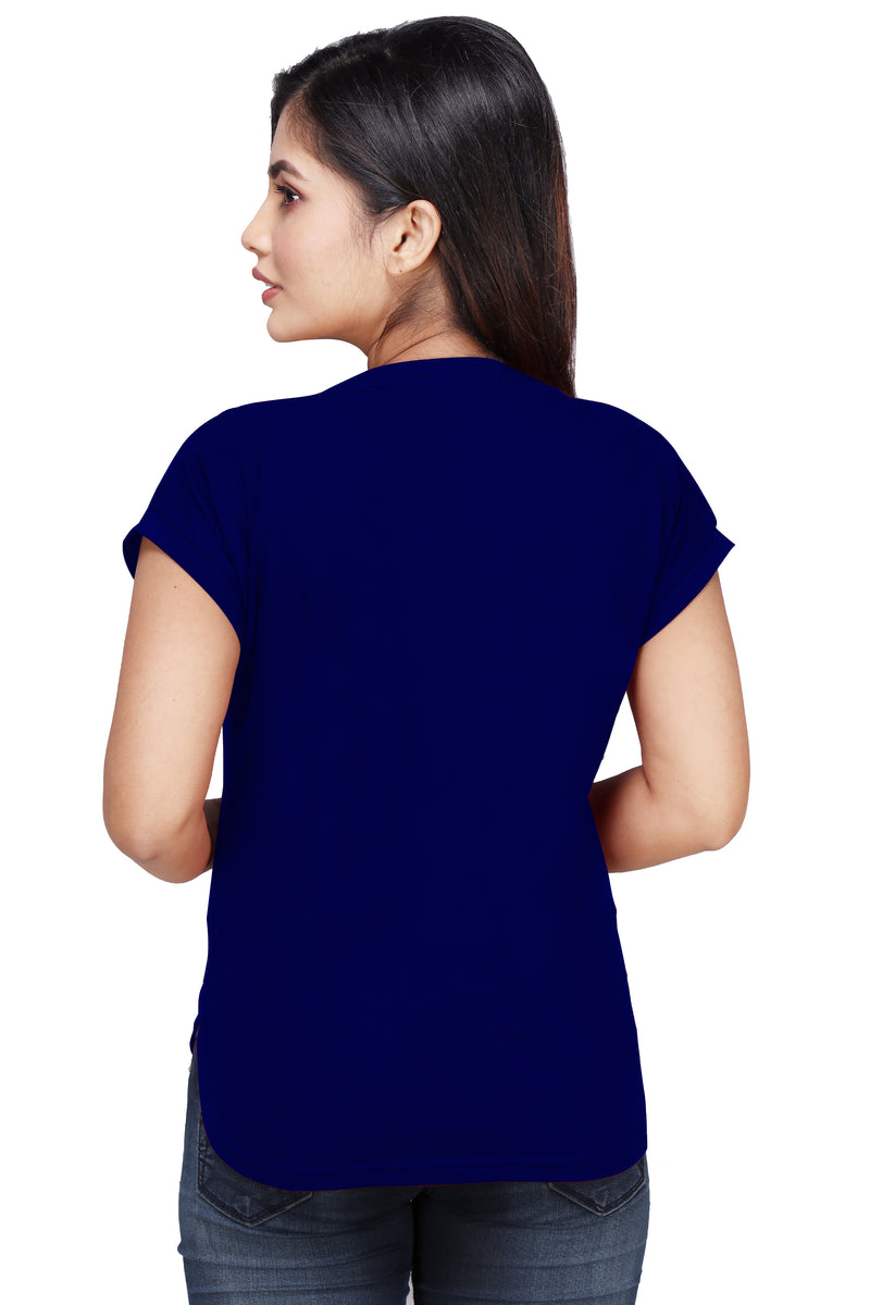 Women's Kurti Style Navy Blue Long Tshirt Tops