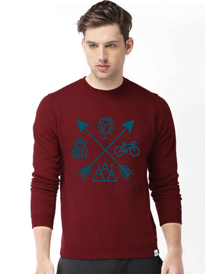 Travel Icon Graphics Printed Round Neck Sweatshirt - bluehaat