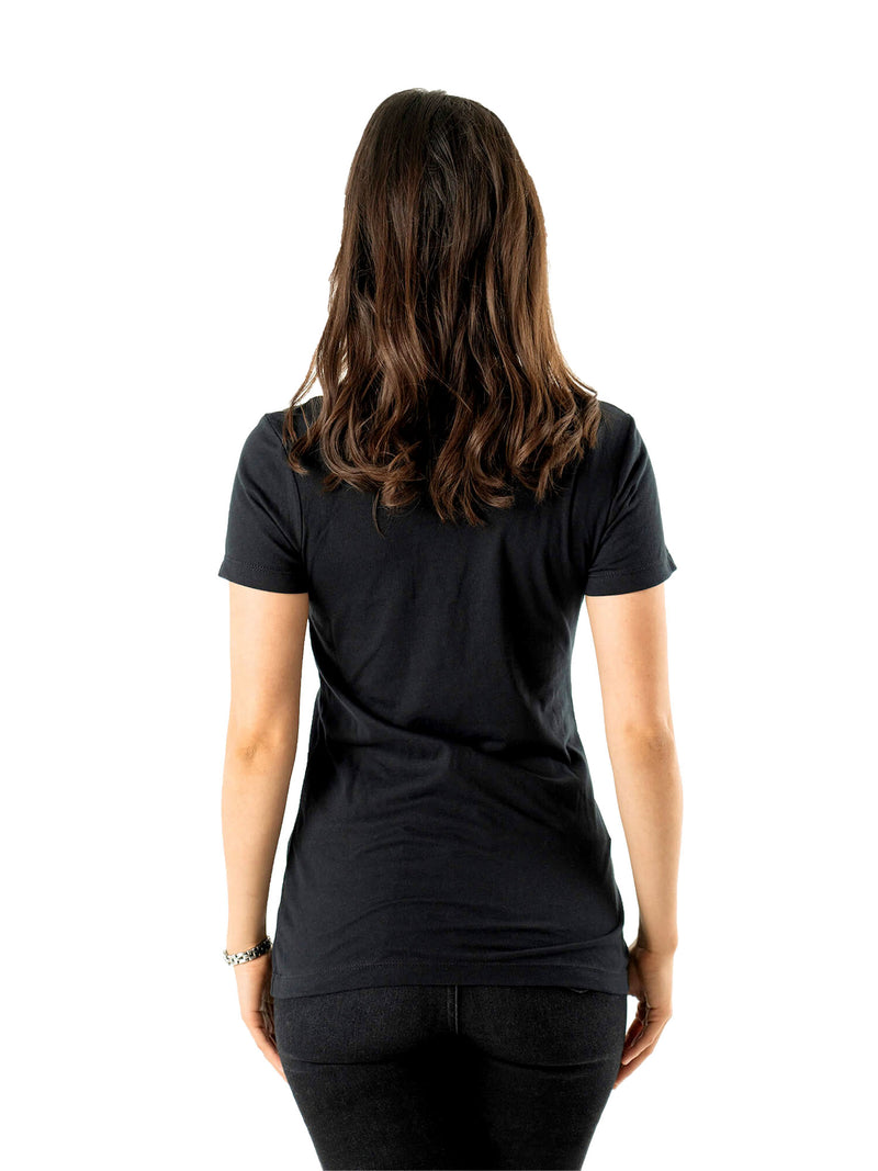 Women's Traveler Mountain Adventure Black Half Tshirt Tops