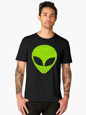 Alien Head Print UFO Half Tshirt - bluehaat