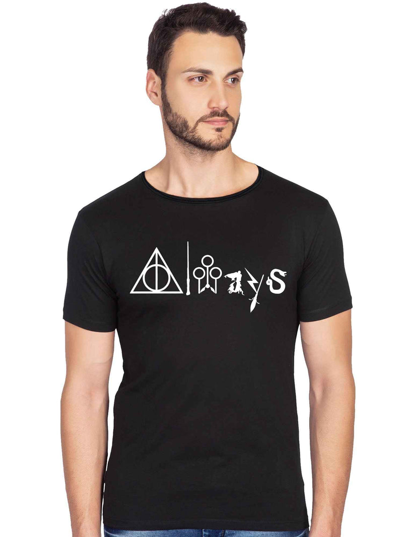 Glow In Dark Always Harry Potter Graphics Printed Raw Edge Neck Half Tshirt - bluehaat