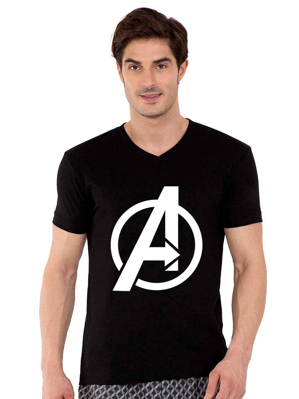 GID A Logo V-Neck Half Tshirt - bluehaat