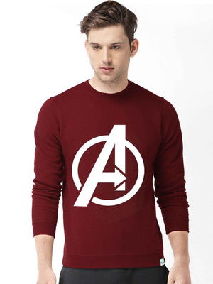 Glow In Dark Avenger Logo Graphics Printed Round Neck Sweatshirt - bluehaat