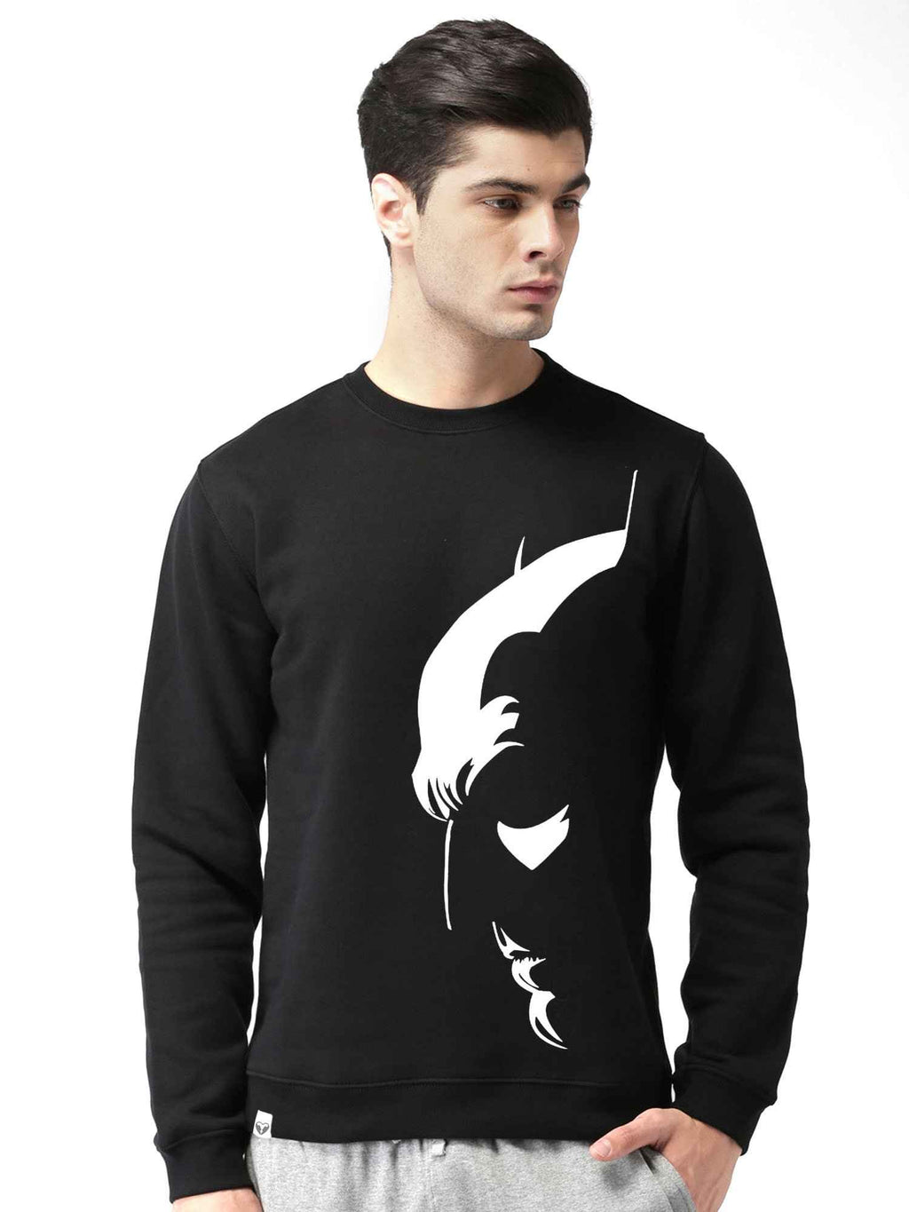 Glow In Dark Batman Graphics Printed Round Neck Sweatshirt - bluehaat