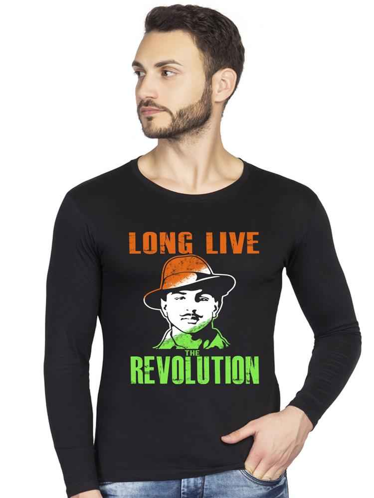 Bhagat Singh Graphics Printed Full Sleeve Tshirt - bluehaat