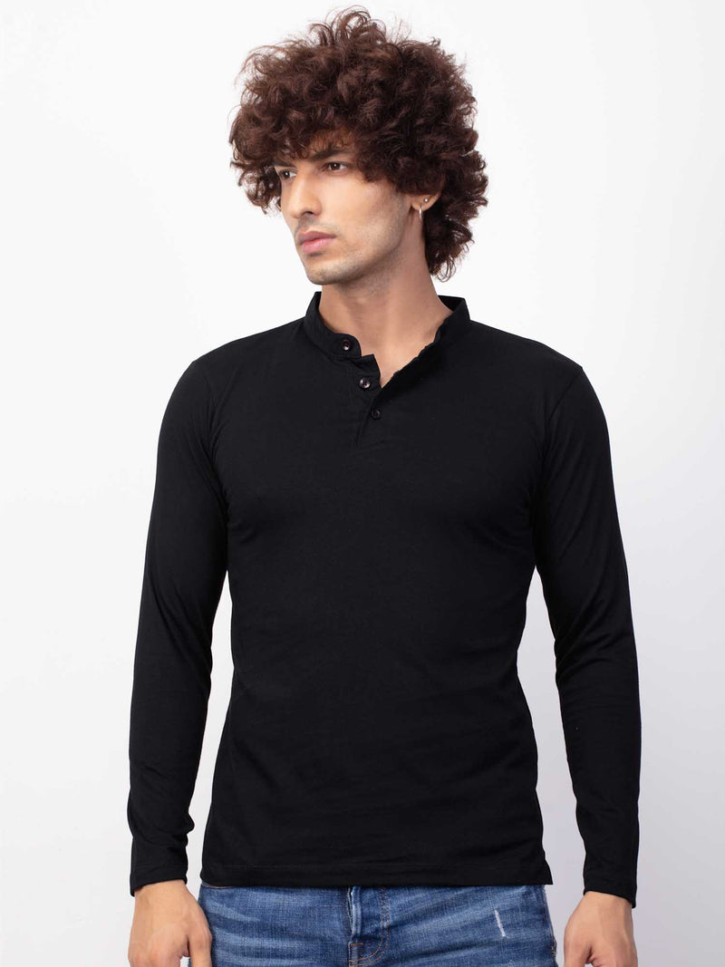 Slim Fit Black T-shirt Kurta for Men