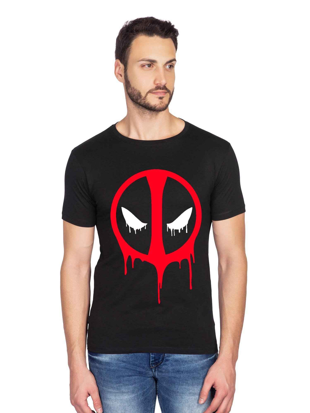 GID Deadpool Superhero Graphics Half Tshirt - bluehaat