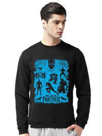 Black Panther Wakanda Forever Graphics Printed Round Neck Sweatshirt - bluehaat