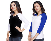 Women's Solid Color Three-Fourth Cotton Tshirt Combo-Black and White