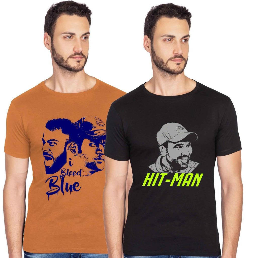 I Bleed Blue And Hitman Graphics Half Tshirt Combo - bluehaat