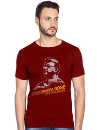 Netaji Subhash Chandra Bose Graphic Printed Half Tshirt - bluehaat