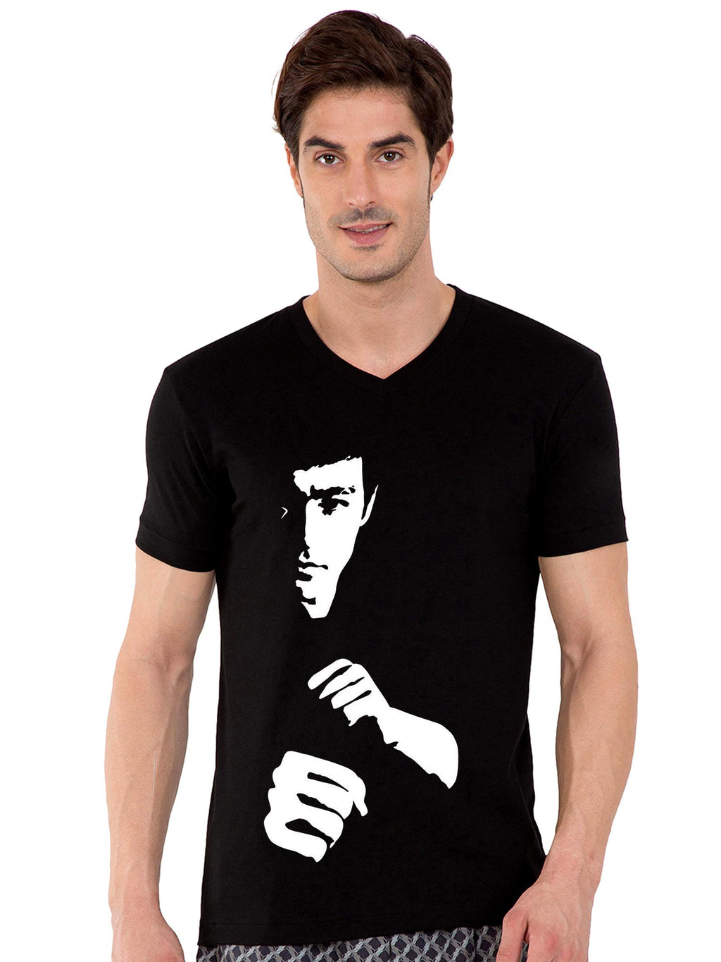 GID Bruce Lee V-neck Half Tshirt - bluehaat