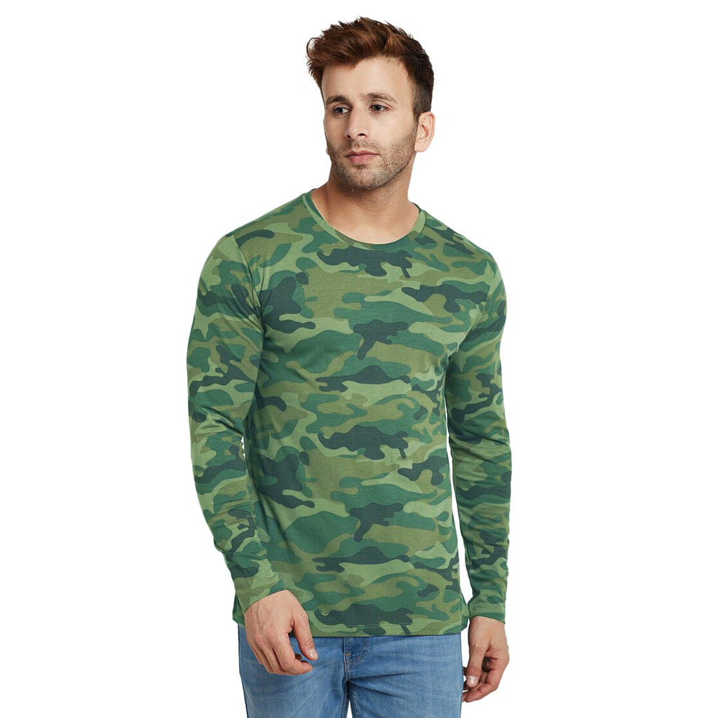 Men's Indian Army Fabric Full Sleeve Casual T shirt