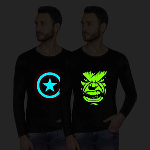 Glow In Dark Captain America And Hulk Graphics Half Tshirt Combo - bluehaat