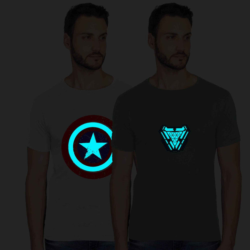 Glow In Dark Captain America And Ironman Graphics Half Tshirt Combo - bluehaat