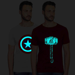 Glow In Dark Captain America And Thor Hammer Graphics Half Tshirt Combo - bluehaat