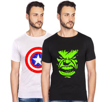 captain america hulk avengers glow in dark combo t shirt-bluehaat