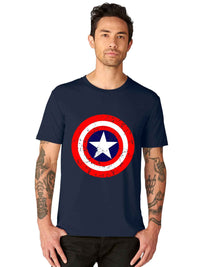 GID Captain America SuperHero Half SleeveTshirt - bluehaat