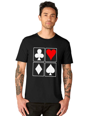Spade Club Diamond Heart Playing Cards Half Tshirt - bluehaat