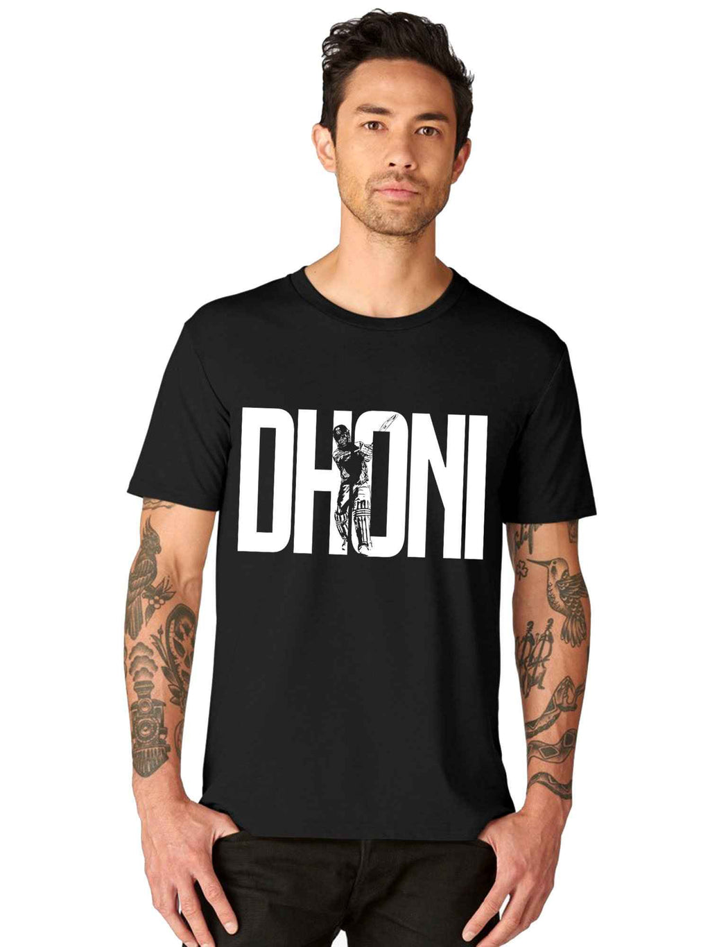 Dhoni name Half Tshirt - bluehaat