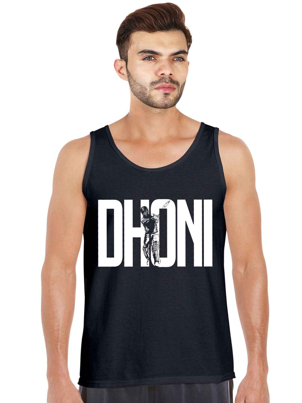 MS Dhoni Printed Sleeveless Tshirt Tank Top - bluehaat