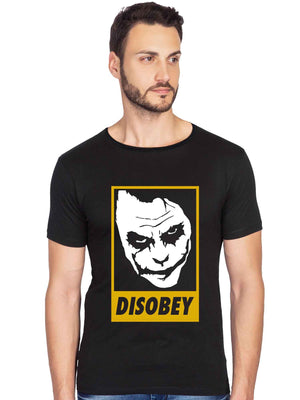 Disobey Joker Graphics Printed Raw Edge Neck Half Tshirt - bluehaat