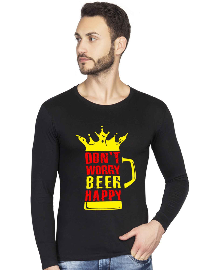 Don't Worry Beer Happy Beer Quote Graphics Printed Full Sleeve Tshirt - bluehaat
