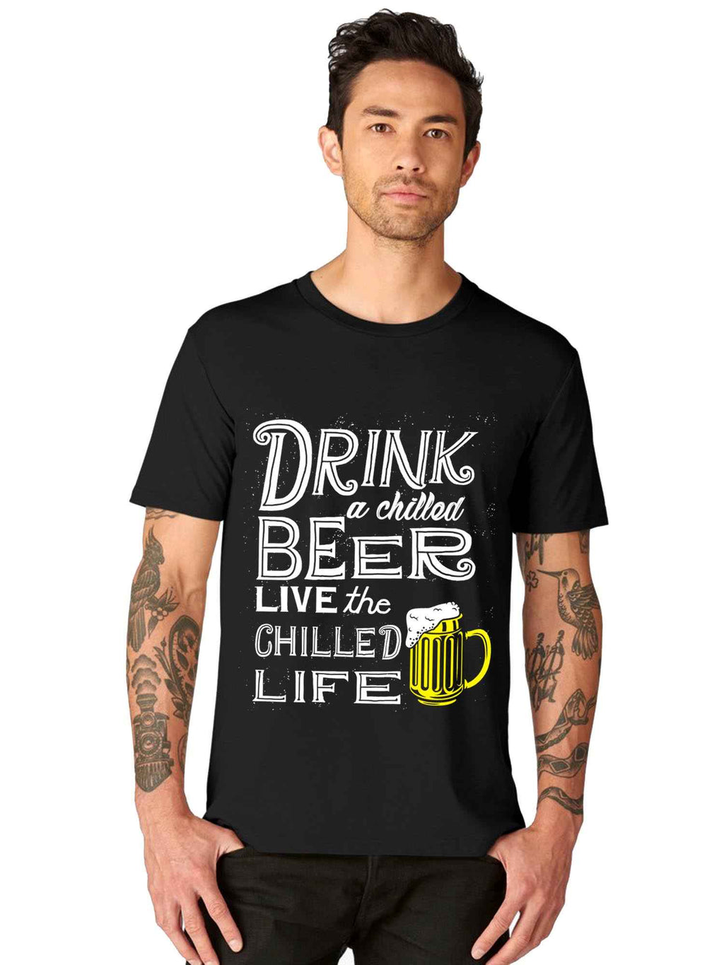 Drink Chilled Budwiser Beer Graphics Printed Half T Shirts - bluehaat