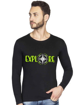 Glow In dark Explore The World more with Compass Full Sleeve Tshirt - bluehaat
