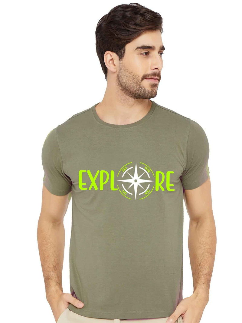 Glow In dark Explore The World more with Compass Half Tshirt - bluehaat