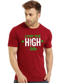 Glow In Dark Need Weed Live High Life Printed Half T shirt - bluehaat