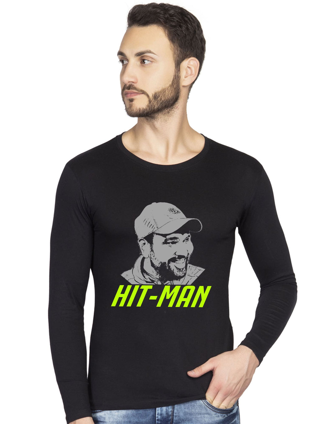 Rohit Sharma 45 hitman mumbai indians black full t shirt- bluehaat