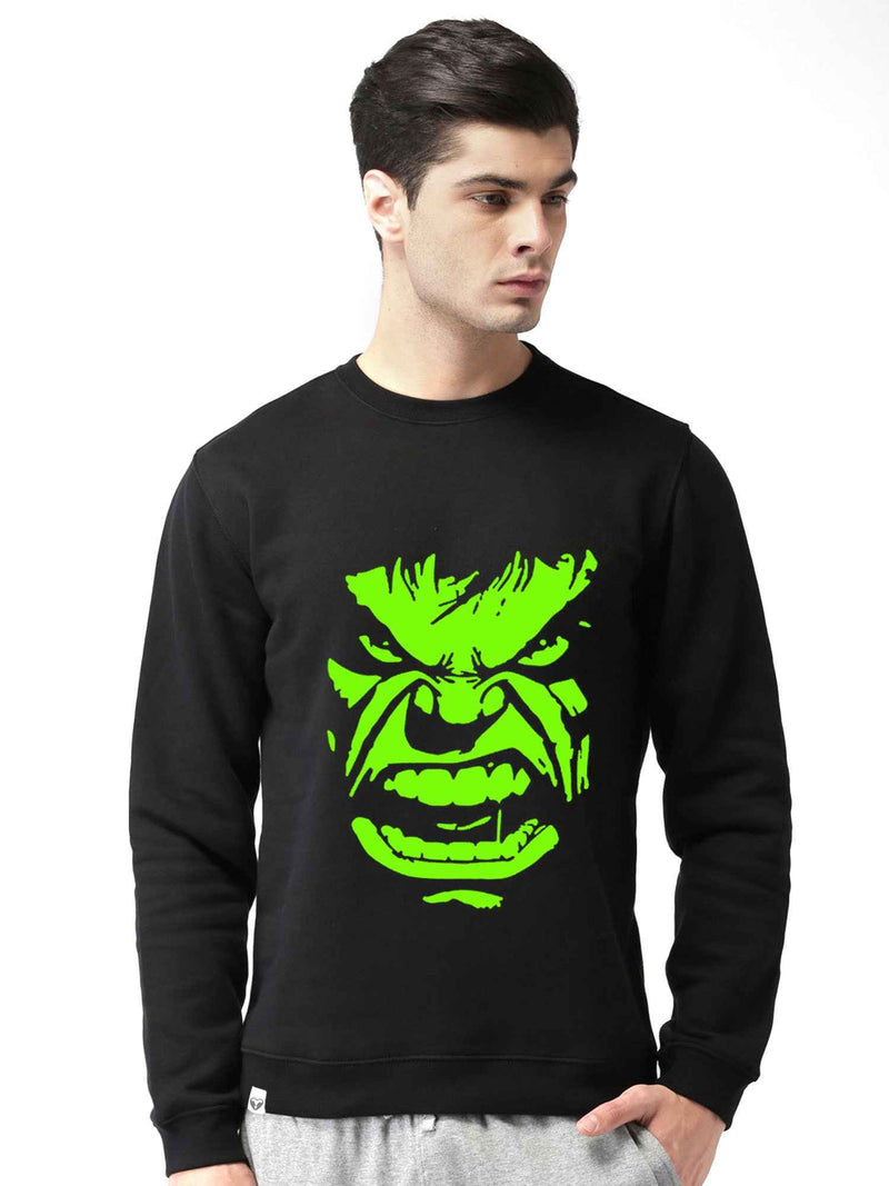 Glow In Dark Hulk Graphics Printed Round Neck Sweatshirt - bluehaat