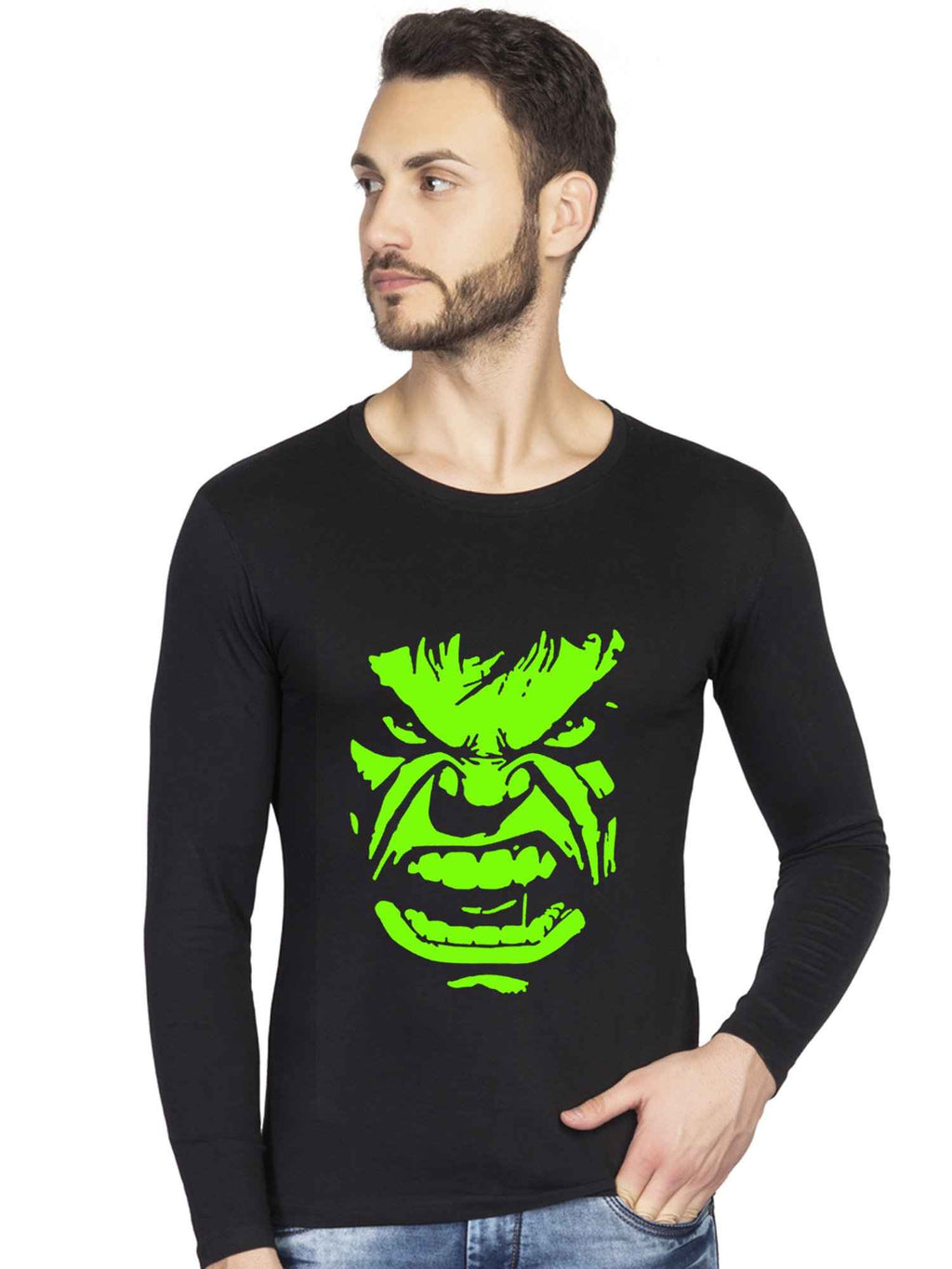 Glow In Dark Angry Hulk Face Graphics Printed Full Tshirt - bluehaat
