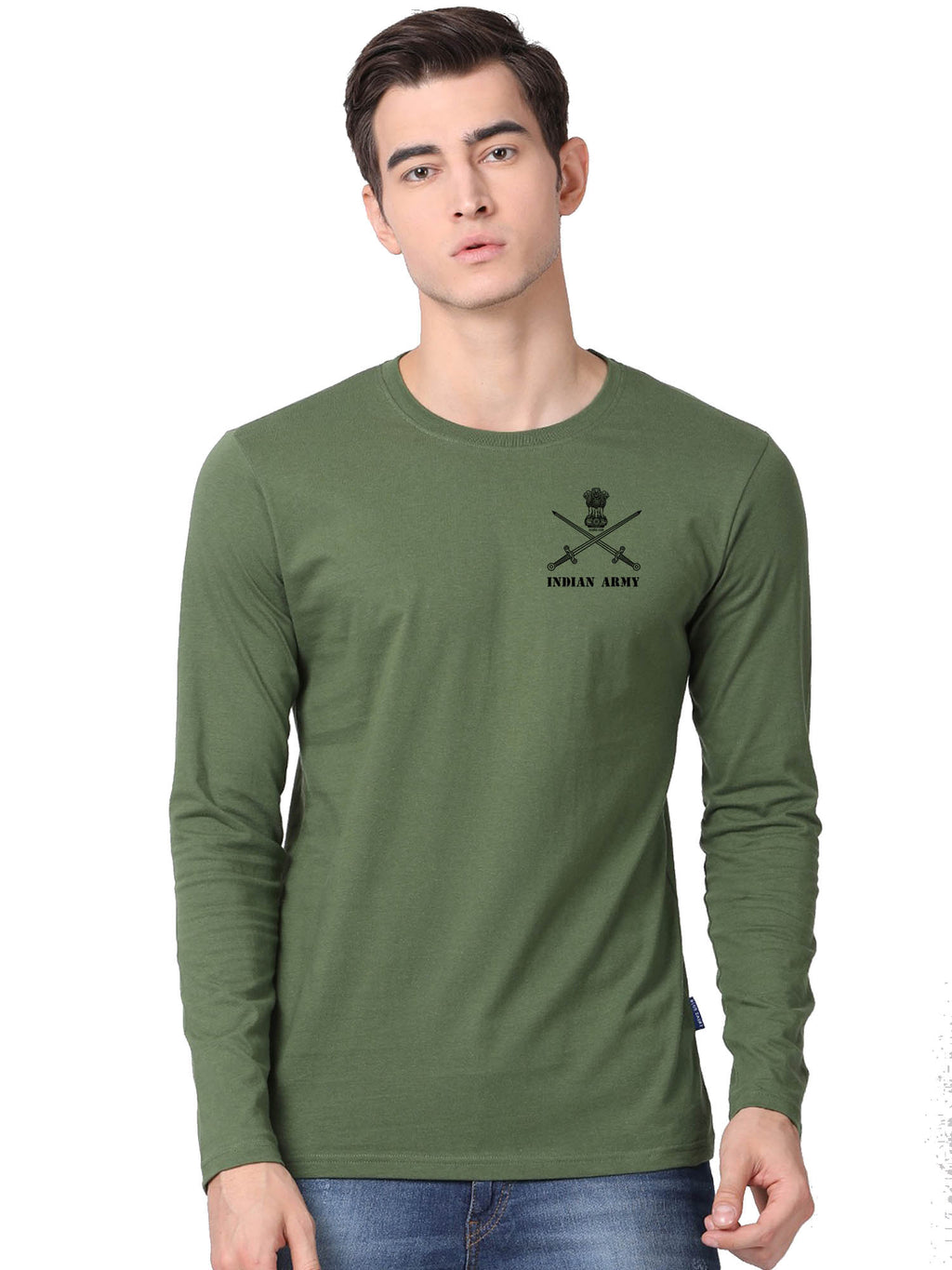 Indian Army Olive Green Full Sleeve Tshirt for Men by Bluehaat