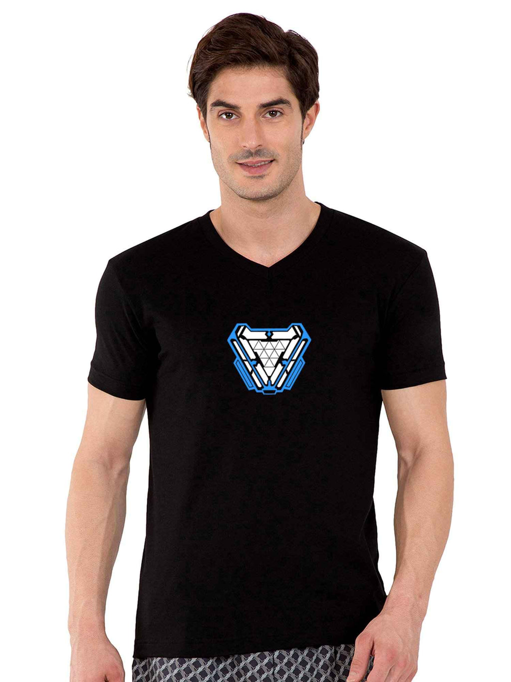GID Arc Reactor V-Neck Half Tshirt - bluehaat