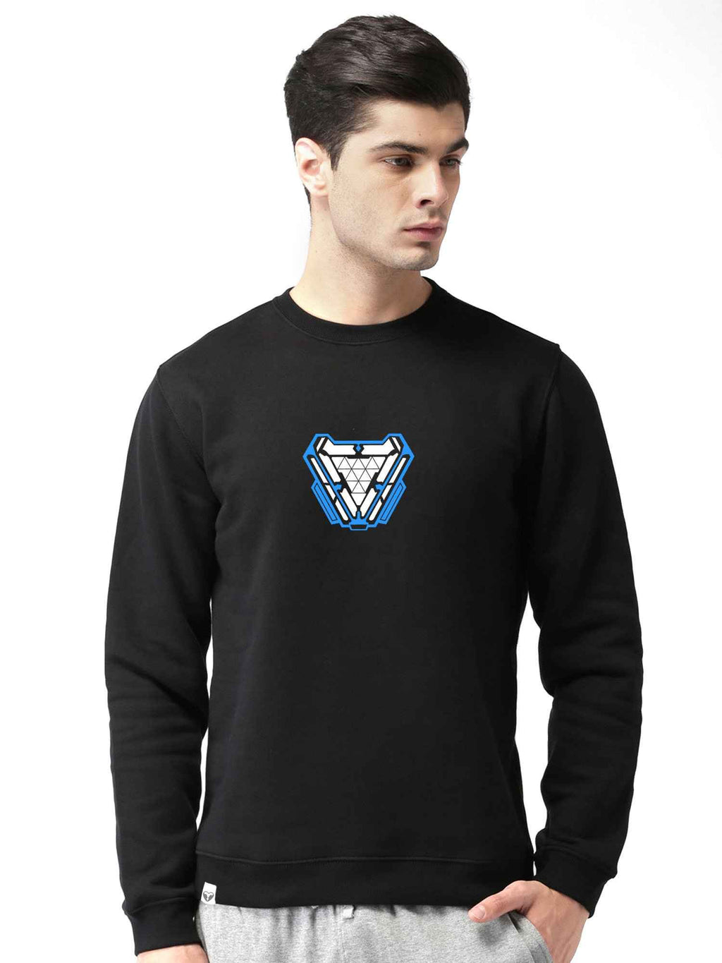 Glow In Dark Ironman Arc Reactor Graphics Printed Round Neck Sweatshirt - bluehaat
