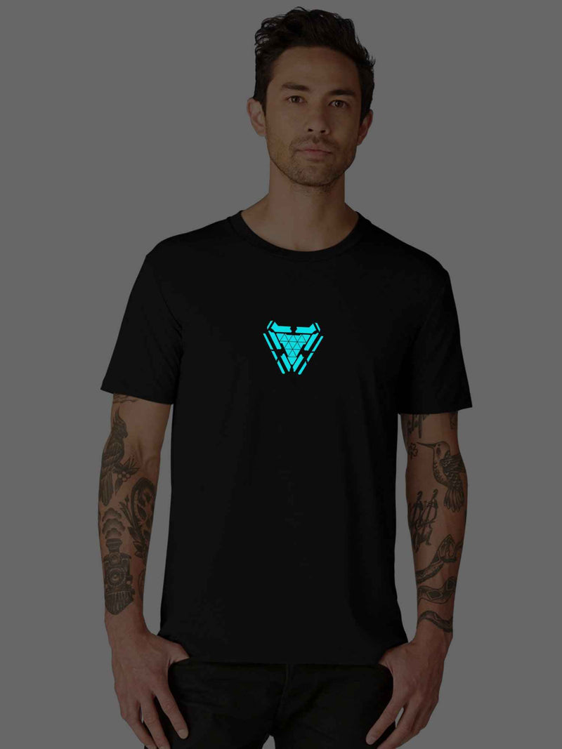 Glow In Dark Iron man Arc Reactor Half Tshirt - bluehaat