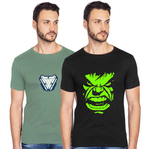 Glow In Dark Ironman And Hulk Graphics Half Tshirt Combo - bluehaat