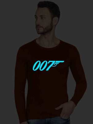 Glow In Dark James Bond 007 Graphics Printed Round Neck Sweatshirt - bluehaat