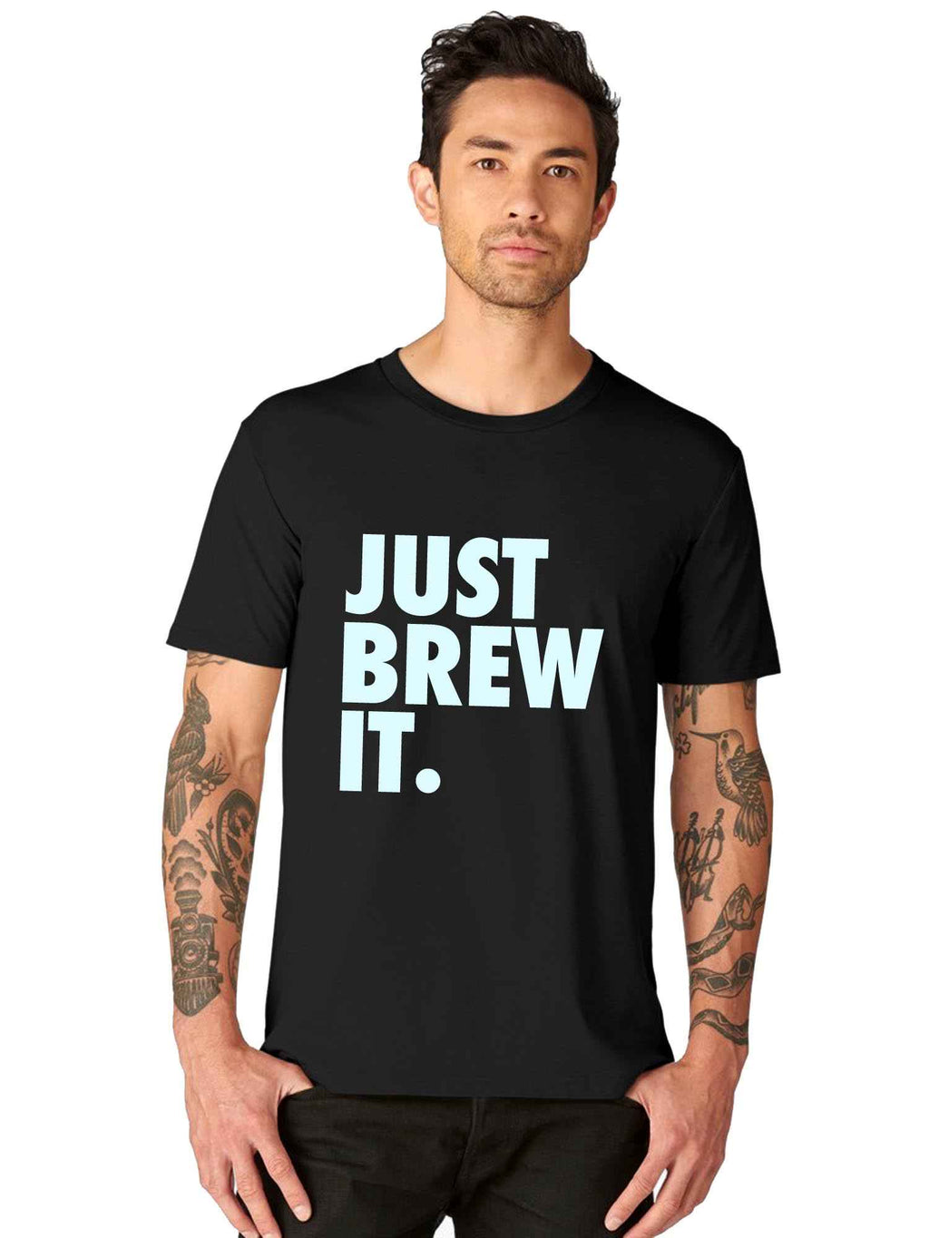 GID Just Brew It Graphics Half Tshirt - bluehaat