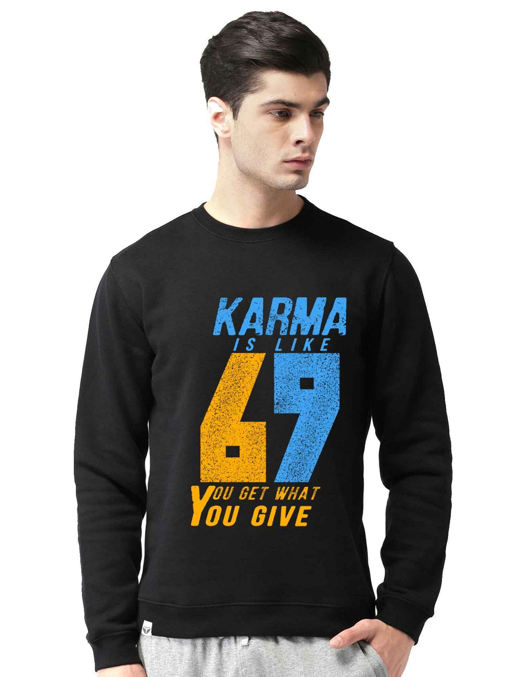 Karma 69 Graphics Printed Round Neck Sweatshirt - bluehaat